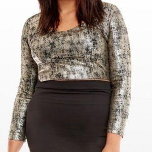 Fashion to Figure Long Sleeve Foil Crop Top 2X